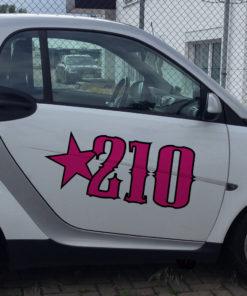 Autocross Aufkleber zweifarbig auf einem Smart