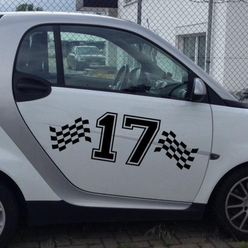 Auto Startnummer Flagge einfarbig auch für LKW