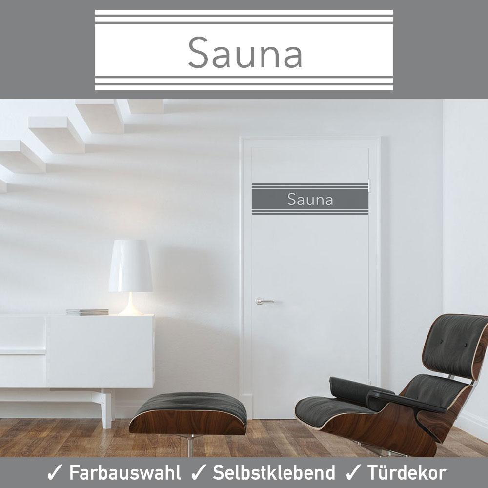 Startbild Aufkleber Türtattoo Sauna in vielen erstklassigen Farben und matter Oberfläche
