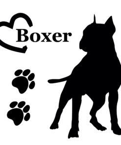 Hunde Aufkleber Boxer mit Herz und Tatzen