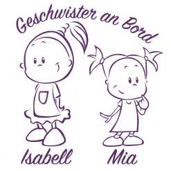 Baby Auto Aufkleber Geschwister Pärchen Mädchen