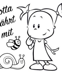 Auto Aufkleber Lotta fährt mit Schnecke und niedlicher Biene