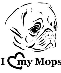 Mops Auto Aufkleber I love my Mops