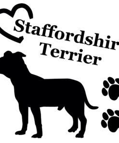 Aufkleber Staffordshire Terrier mit Herz und Tatzen