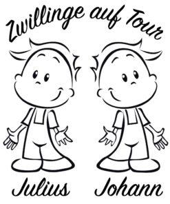 Aufkleber Zwillinge Jungen auf Tour mit Wunschnamen