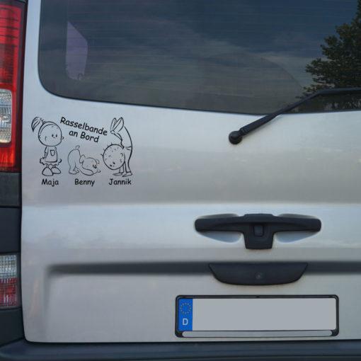 Beispiel Geschwister Auto Aufkleber mit süßem Hund und Wunschnamen