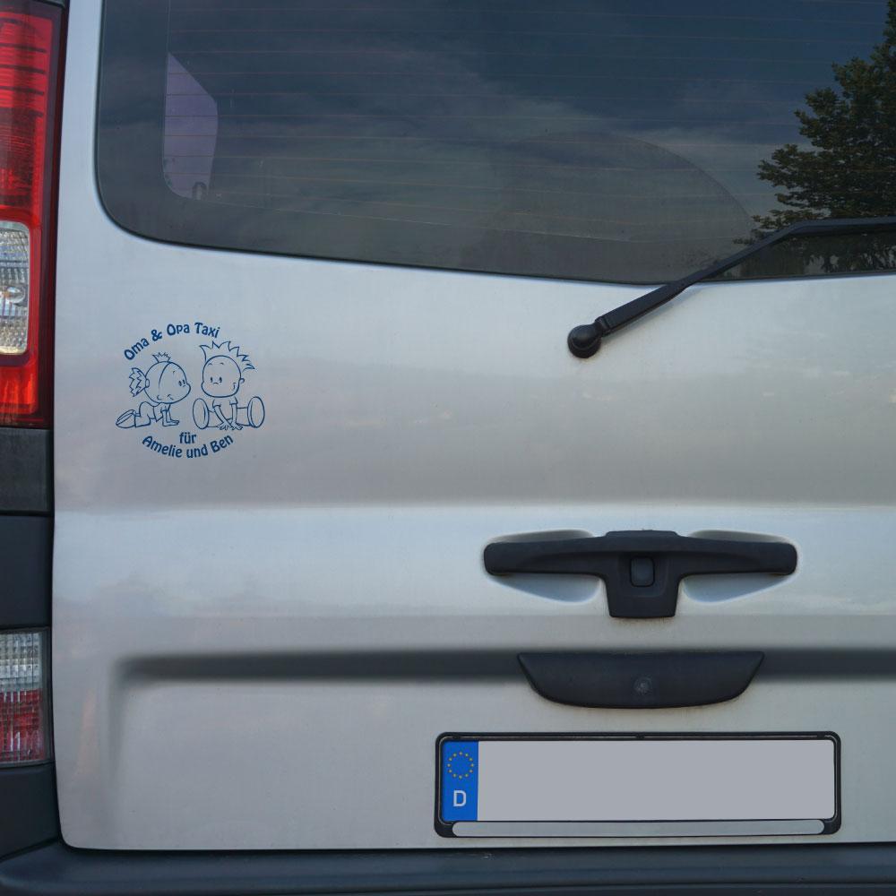 Beispiel Baby Auto Aufkleber Enkelkinder - Oma und Opa Taxi -