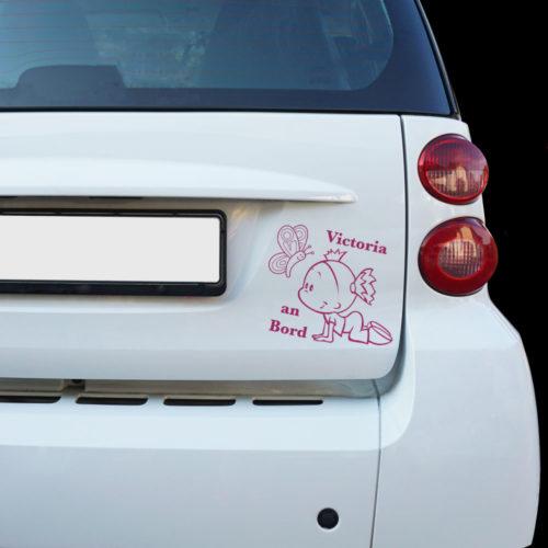 Mädchen Auto Aufkleber mit Wunschname und Schmetterling