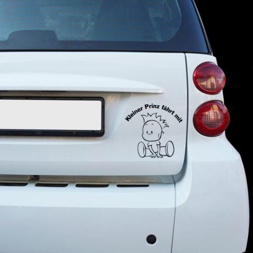 Beispiel Auto Aufkleber Junge Kleiner Prinz fährt mit