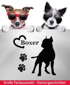 Startbild Hunde Aufkleber Boxer mit Herz und Tatzen