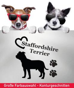 Startbild Aufkleber Staffordshire Terrier mit Herz und Tatzen