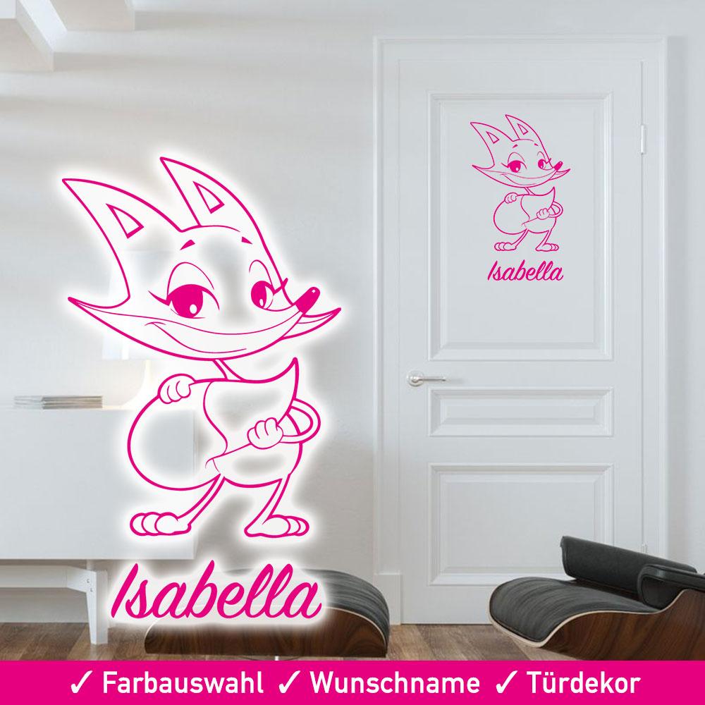 Startbild Tür Aufkleber Kinderzimmer Fuchs mit Wunschname