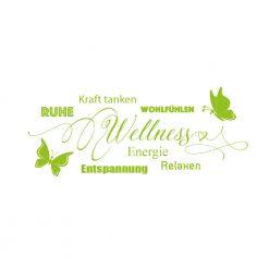 Wanddekor wellness mit Worten und Schmetterlingen