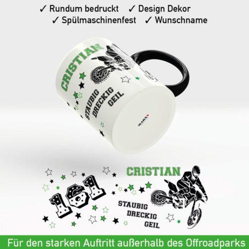 MX Freestyle Tasse staubig - dreckig - geil inklusive Startnummer und Name