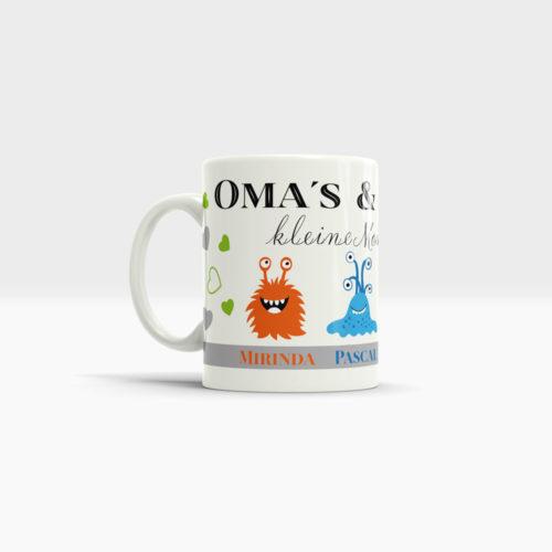 Kaffee Tasse Enkelkinder mit kleinen Monstern und Wunschnamen. Ansicht links, weißer Henkel