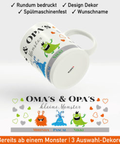 Kaffee Tasse Enkelkinder mit kleinen Monstern und Wunschnamen