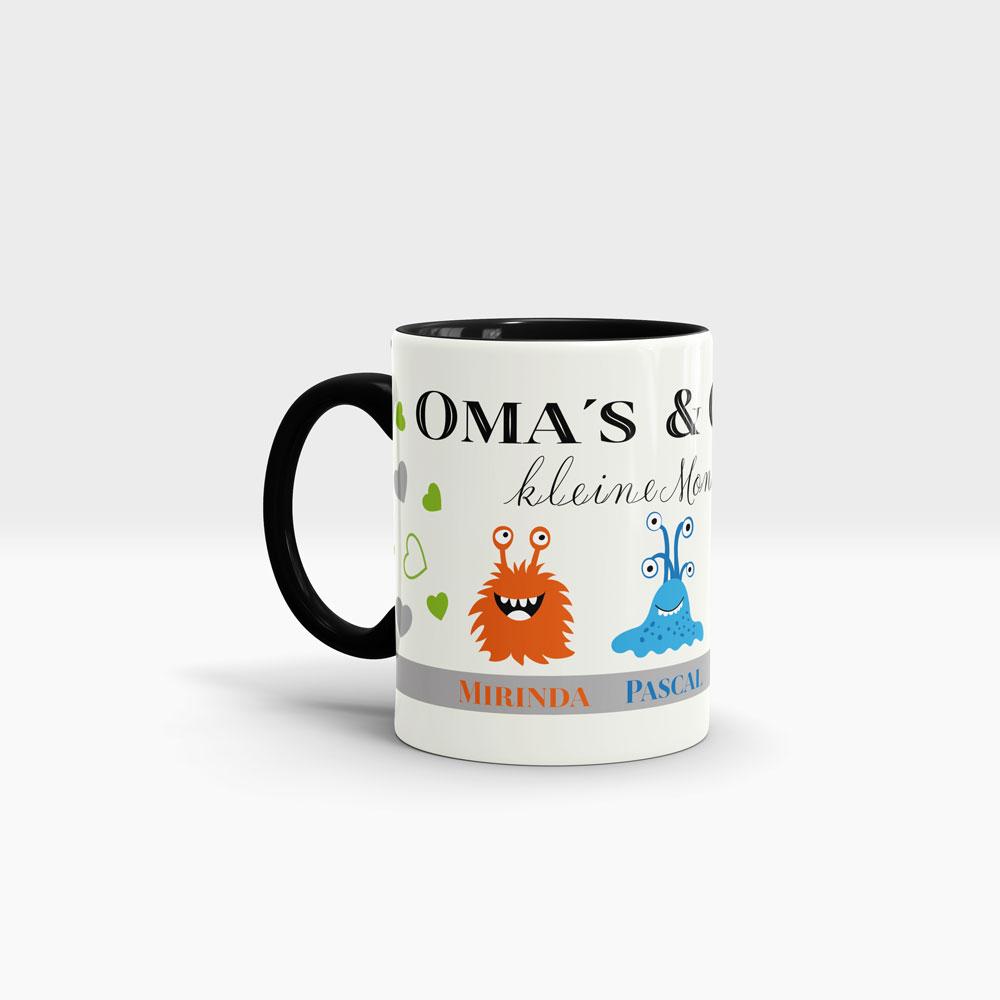 Kaffee Tasse Enkelkinder mit kleinen Monstern und Wunschnamen. Ansicht links, schwarzer Henkel