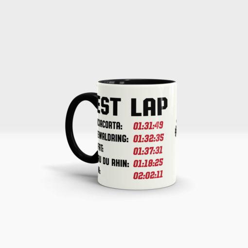 Motorrad Tasse Rennstrecke mit Startnummer, Rundenzeiten und Name Ansicht links