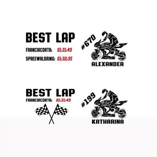 Motorrad Tasse Rennstrecke mit Startnummer, Rundenzeiten und Name Variante1