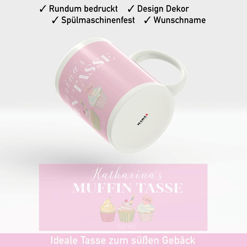 Muffin Tasse im zarten rosa, mit leckeren Muffin Dekor und Wunschnamen