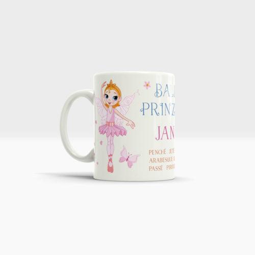 Tasse Ballett Prinzessin mit entzückender Ballerina und Wunschname. Ansicht links