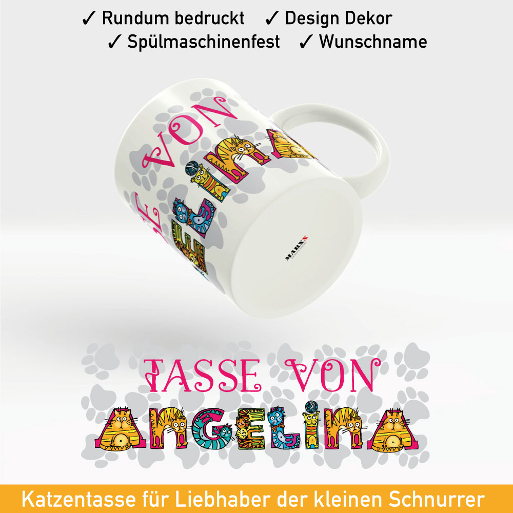 katzen abc tasse mit ihrem namen im lustigen katzen alphabet. Black Bedroom Furniture Sets. Home Design Ideas
