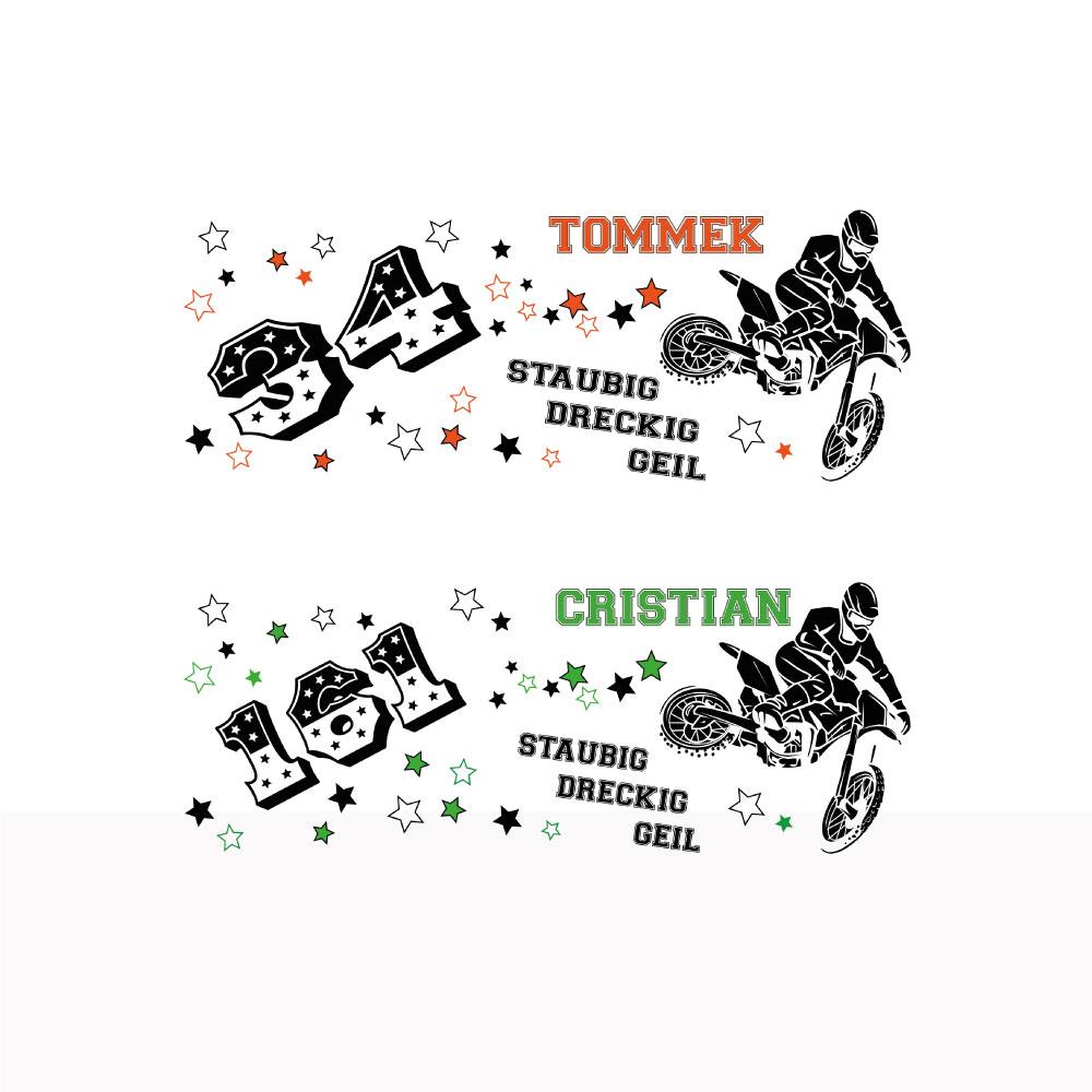 MX Freestyle Tasse staubig - dreckig - geil inklusive Startnummer und Name Variante1