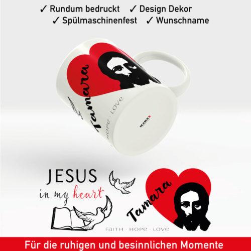 Tasse Jesus mit rotem Herz, Bibel, Friedenstauben und Wunschname