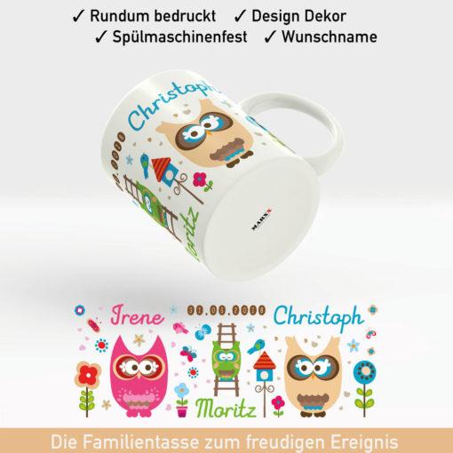 Kaffee Tasse Geburt für Ihr Familienglück mit niedlichen Eulen, Namen und Geburtsdatum