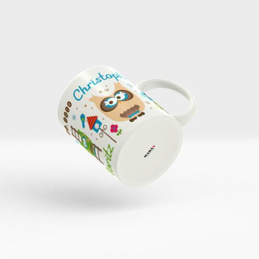 Kaffee Tasse Geburt für Ihr Familienglück mit niedlichen Eulen, Namen und Geburtsdatum. Ansicht rechts