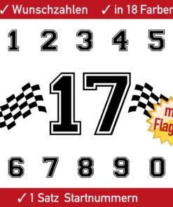 Auto Startnummer Flagge einfarbig konturgeschnitten