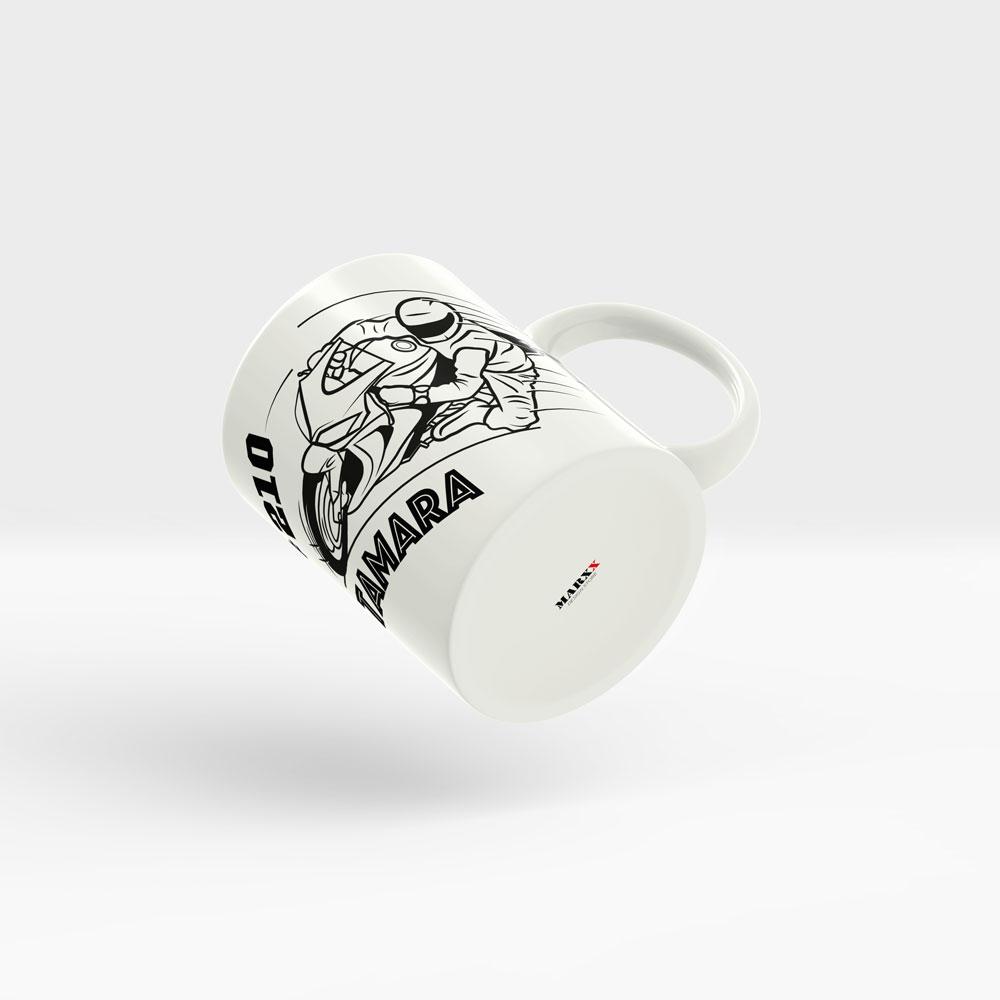 Motorrad Kaffee Tasse Ansicht rechts weißer Henkel