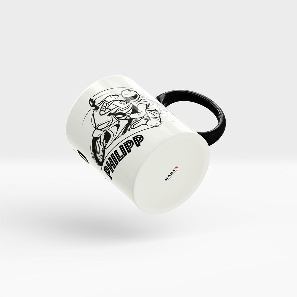 Motorrad Kaffeetasse Topspeed Ansicht rechts schwarzer Henkel