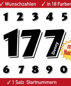 Motorrad Startnummer einfarbig mit Namen für Motorsport