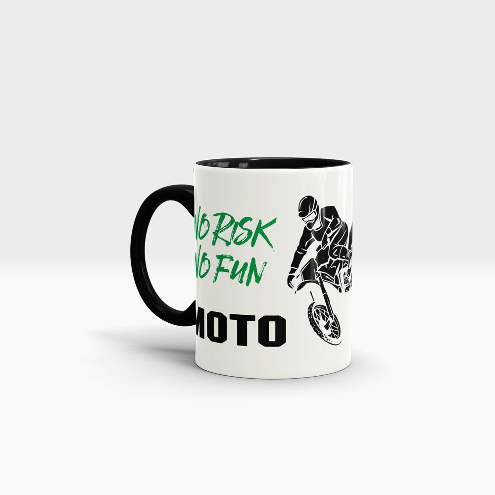 MX Motocross Tasse Ansicht links mit schwarzem Henkel