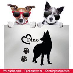 Startbild Hunde Aufkleber Schäferhund mit Wunschname und Tatzen