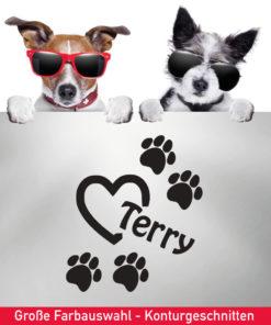 Startbild Hunde Auto Aufkleber mit Herz, Pfoten und Wunschname