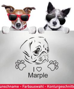 Startbild Hunde Aufkleber Mops - I love Wunschname -