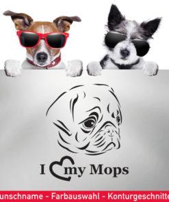 Startbild Mops Auto Aufkleber I love my Mops