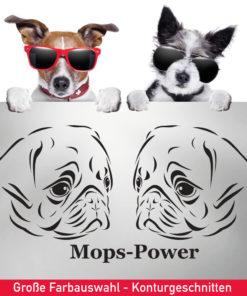 Startbild Hunde Aufkleber Mops als Pärchen