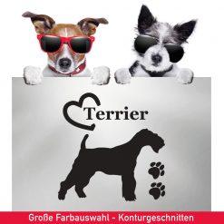 Startbild Aufkleber Terrier Edelterrier mit Herz und Pfoten für Fahrzeuge