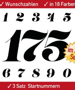 Startnummern Rennsport für Auto, Motorrad, Kart