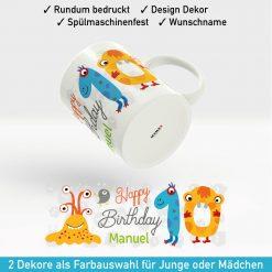 Tasse mit Zahlen zum Geburtstag Motiv Junge