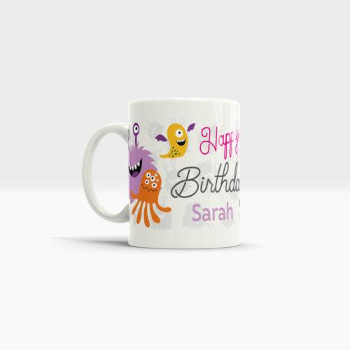 Tasse zum Geburtstag Motiv Mädchen Ansicht links