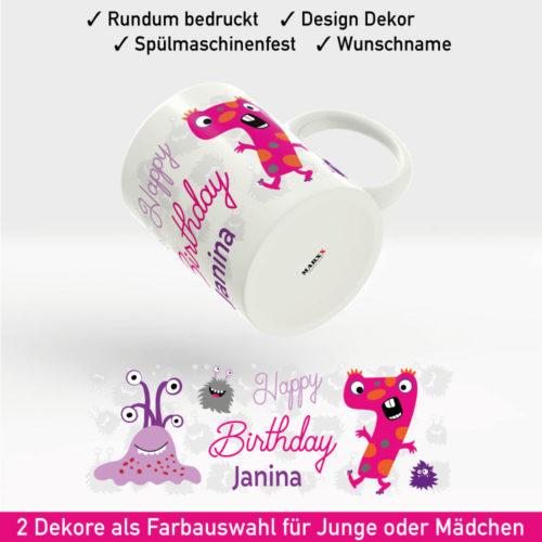 Bedruckte Tasse Geburtstag Motiv Mädchen