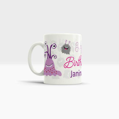Bedruckte Tasse Geburtstag Motiv Mädchen Ansicht links