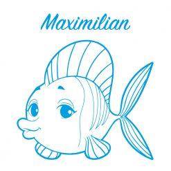 Türtattoo Kinderzimmer Wunschname mit niedlichem Fisch
