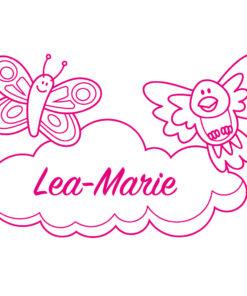 Türaufkleber Kinderzimmer Schmetterling, Vogel und Wolke mit Wunschname