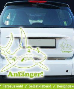 Startbild Autoaufkleber Fahranfänger mit coolem Hai im aggressiven Look