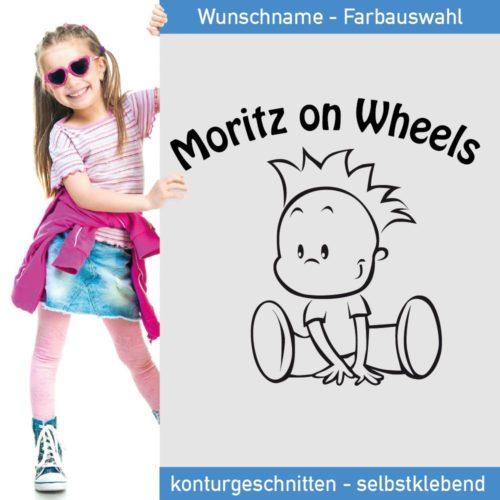 Startbild Kinder Aufkleber Moritz on Wheels - Name frei wählbar -